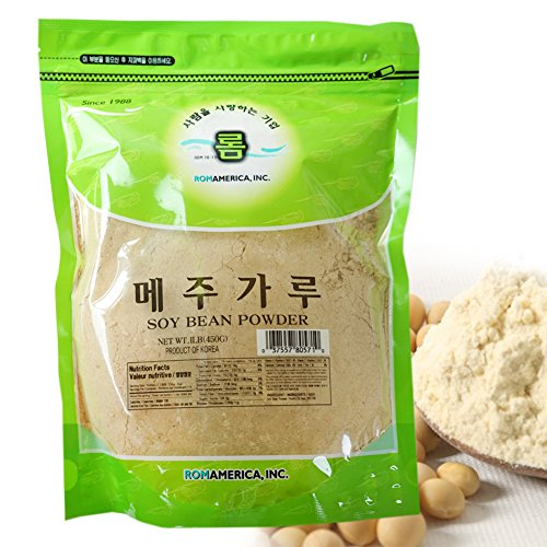 ROM AMERICA INC. NON-GMO Roasted Soy Bean Powder 메주가루, 1 LB. (PACK OF 1) Packaging May Vary