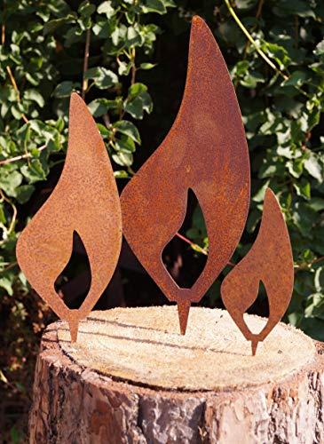 Dekostüberl Rostalgie Edelrost 3tlg. Set Flammen mit Dornspitze zum Einstecken in Holz Gartendeko Weihnachten Kerzen