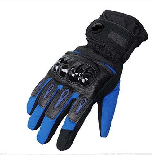 DOXUNGO Unisex Motorradhandschuhe wasserdicht warm Handschuhe Herren Touchscreen Herbst Winter für Motorrad Radfahren Wandern Outdoor Sport (Blau, L)