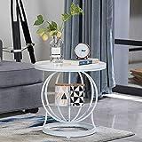 Home Beistelltische Marmor Wohnzimmer Sofa Beistelltisch Nordic Schmiedeeisen Beistelltisch Kleinen Couchtisch Licht Luxus Wohnzimmer Ecktisch, BOSS LV, Weiß