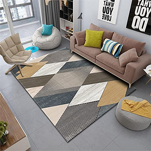 Kunsen alfombras de Gateo Comedor Alfombra de Sala de Estar Gris Suave cómoda Mano sentimiento Buen rectángulo Alfombra Silla Ruedas 160X230CM 5ft 3' X7ft 6.6'