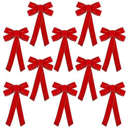 FUNARTY Red Velvet Christmas Bows 10 x 16-Inch Waterproof Christmas Decorative Bows Ornaments for Holiday Wreath Garland Christmas Treetopper Indoor Outdoor Decorations, 10 Pack