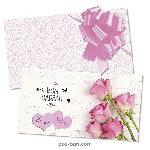 50 Bons cadeaux universels + 50 enveloppes + 50 noeuds rubans pour toutes occasions U1252F