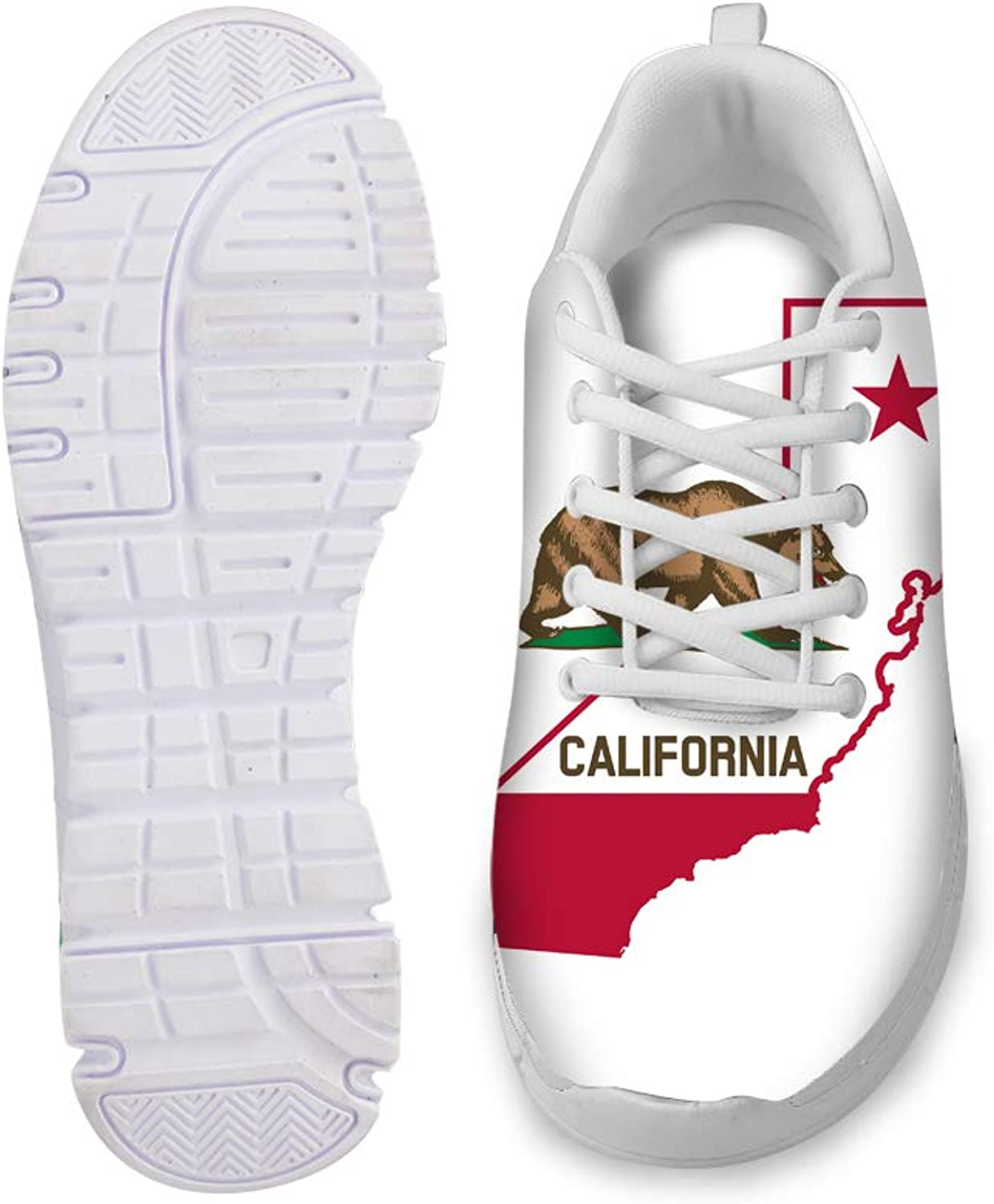 Owaheson Lace-up Sneaker Training shoes Mens Womens California Flag Map
