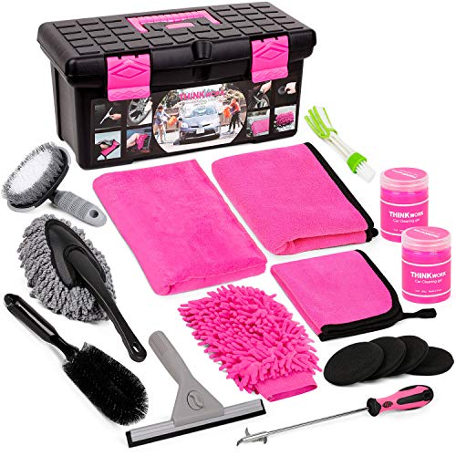 Car Wash Kit, Pink Car Cleaning Kit Interior and Exterior, Car Accessories for Women - Cleaning Gel, Microfiber Cleaning Cloth, Car Wash Mitt, Duster, Squeegee, Microfiber Wax Applicator(17pcs)