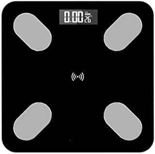 Básculas Digitales 26 * 26 Cm Escala De Grasa Corporal Escala De Imc Inteligente Led Baño Digital Escala De Peso Inalámbrico Balance De Peso Corporal Bluetooth Android Ios App Negro