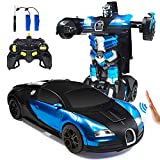 Trimnpy RC Cars Robot for Kids Remote Control Car Transformrobot Gesture Sensing Toys with One-Button Deformation and 360°Rotating Drifting 1:14 Scale , Best Gift for Boys and Girls (Blue)