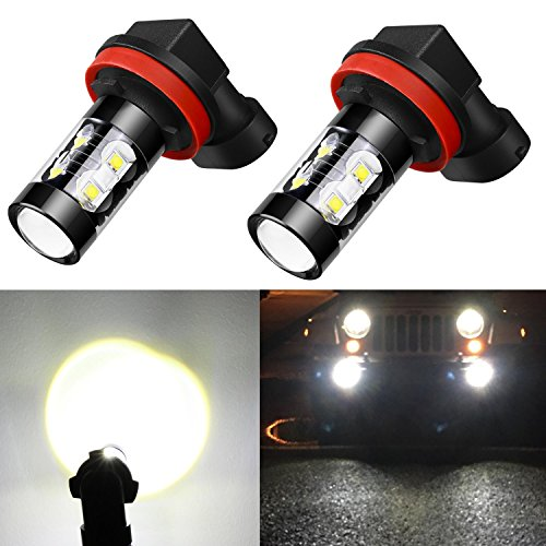 Alla Lighting 50W High Power CREE Super Bright 6000K Xenon White H11 H8 H16 Type 2 LED Bulbs for Fog Light Lamp Replacement
