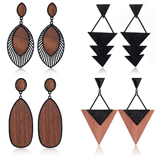 Hanpabum 4Pairs Wood Dangle Earrings Ethnic Statement Drop Earrings Stainless Steel Stud Bohemia Style Jewelry Set