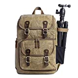 Camera Backpack Retro Style Bag with Laptop Compartment for SLR/DSLR Mirrorless Camera Photographer Backpack for Hiking Traveling etc