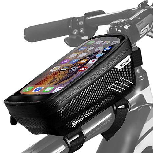 Sacoche de Cadre Vélo Étanche Sac de Velo Cadre avec écran Tactile Sensible et Grande Capacité Espace Sacoche VTT Cadre pour Téléphones iPhone 11/XS/X/XR/Samsung S9 Plus/Huawei Jusqu'à 7 Pouces (Noir)