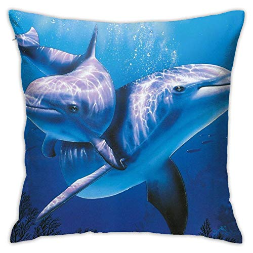 Aiwo Delfines En El Mar Watercolor Decorative Throw Pillow Case Cushion Cover Soft Velvet Square Pillowcase for Home Sofa Car Bed Room Decor18 X 18' Inch Blue Yellow Red
