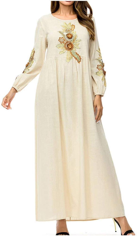 QINJLI Ladies' Dress, Loose Aline Skirt Solid color Printed Imitation Linen Muslim Robes