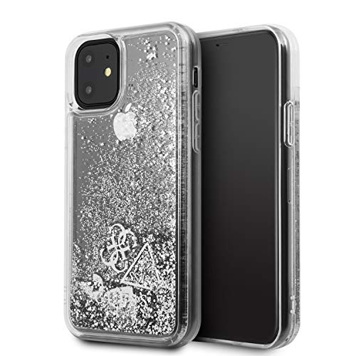 CG MOBILE Coque Guess Paillettes Hearts Argent pour Iphone 11