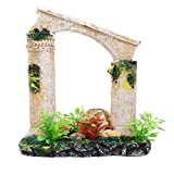 Balacoo Resina Roman Columna Ornamento Antigua Columna Ruinas Acuario Decoración Pecera Plantas Paisaje Escondite para Miniatura Jardín de Hadas Decoración