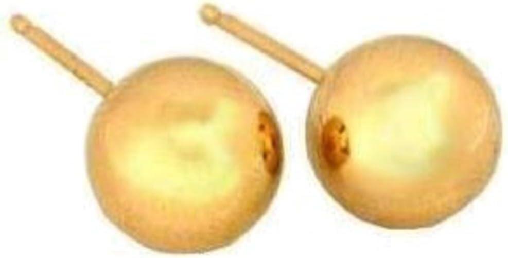 14K Gold 5mm Ball Earrings & Ear Backs 2 Pair