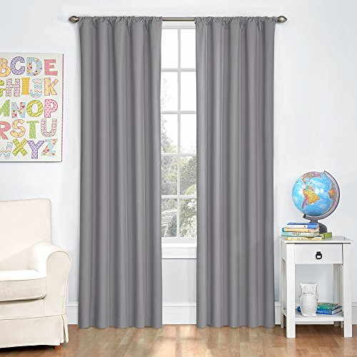 """Eclipse Microfiber Thermal Insulated Single Panel Rod Pocket Room Darkening Privacy Curtains for Nursery, 42"""" x 63"""", Gray"""