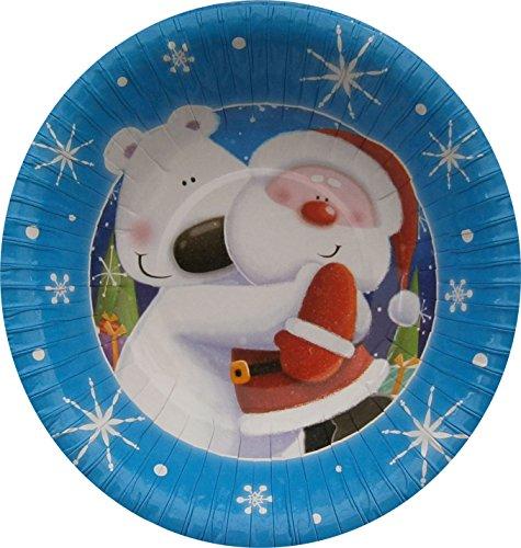 Tallon Père Noël et Ours Polaire Design Assiettes en Papier de fête de Noël x 10