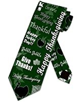 Happy Thanksgiving Fall Turkey Green Necktie Mens Holiday Ties by Three Rooker