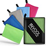 Invool Microfiber Towel, 5 colours (Green) with carry bag - Quick Dry Towel for Travel, Camping, Fitness, Beach, Vacation, Fast Drying and Absorbent