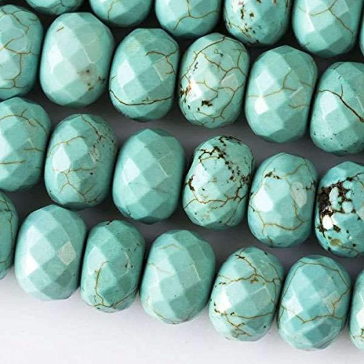 Cherry Blossom Beads Large Hole 2.5mm Drilled Turquoise Howlite Beads 8x12mm Faceted Rondelle - 8 Inch Strand