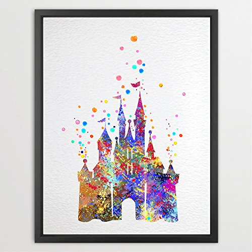 Dignovel Studios 13X19 Unframed Fairy Tale Cartoon Castle Inspired Watercolor Illustration Art Print Wall Art Poster Home Decor Art Wall Hanging Kids Art Birthday Gift N002