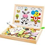 DishyKooker Puzzle magnético de madera para niños, 3D, para montar en casa, figuras, animales, bosque, ciudad, tablero de dibujo para niños y niñas, juguete educativo con 12 zodiros