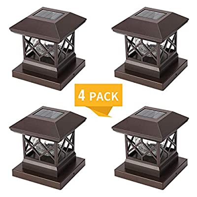 Twinsluxes Fence Post Cap Light, LED Solar Lights for Deck Posts, Solar Post Caps Light Outdoor for 3.5x3.5/4x4/5x5 Posts, Wood or Vinyl Fence Deck Post, Warm Light 4 Pack, Brown