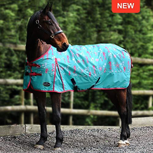 """Gallop Pferdedecke / Pferdedecke, 600 D, Standardhals, ohne Füllung, Nylon, Grünes Muster, 4\'6\"""""""