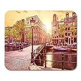 Alfombrillas de ratón Channel en Amsterdam Países Bajos Holanda Casas Under River Amstel Alfombrilla de ratón para portátiles, Ordenadores de sobremesa Alfombrillas Material de Oficina