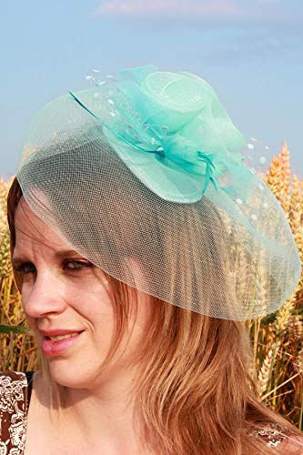 Mini Chapeau Mariage Bibi Tulle Plume Fleur Pois Bleu Ciel