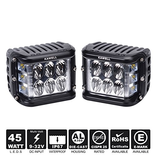 KAWELL Dual Side Shooter Led Cube 45W Led Work Light Off Road Led Light Bar Driving Light Super Bright for Jeep Boat Truck Car ATVs