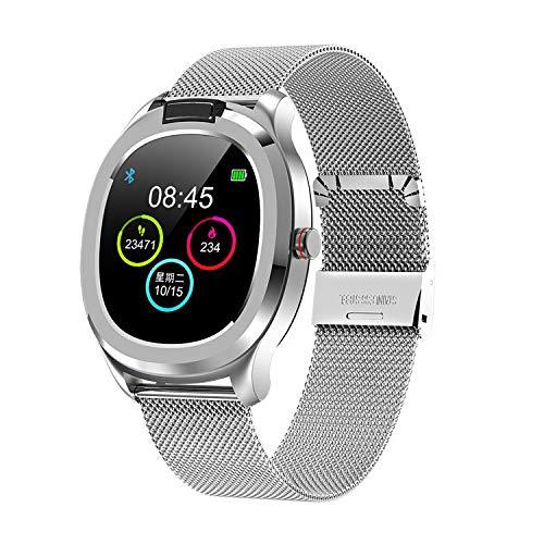 Pulsera de actividad deportiva compatible con Android iOS Bluetooth Touch la pantalla de color Smart Watchers con monitor cardíaco y presión arterial, gris, L