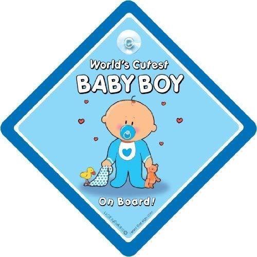 du monde plus mignon bébé garçon à bord, panneau de voiture avec ventouse, neuf ourson, SIGNE Bébéà bord, panneau de voiture, petit-enfant à bord, autocollant sticker, Décalque, ENSEIGNE voiture bébé
