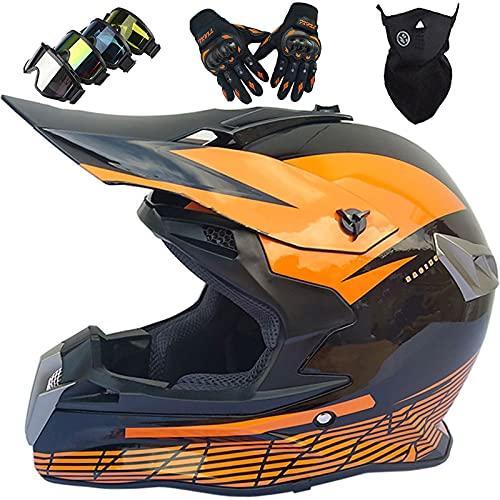 Casco Moto Niño, Casco Motocross Adulto Juventud Downhill, Cascos de Cross Set con Gafas/Máscara/Guantes, Casco Integral Unisex para MTB Quad BMX Bicicleta - S-XXL/52-63cm