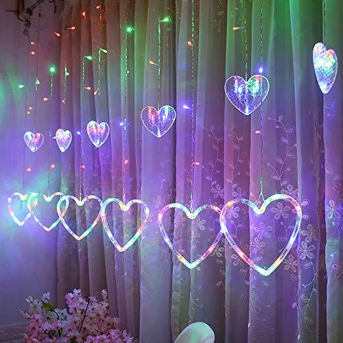 Led HerzföRmiges Vorhanglicht Drinnen Und DraußEn Dekoration Kleine Laternenschnur Kreative Mehrfarbenliebesvorhänge Super GroßEr Lichtvorhang Lichterkettenvorhang Partydekoration