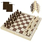 Chess Board Travel Chess Set for Adults Kids, Magnetic Wooden Chess Sets with Storage Bag,Unique Travel Chess Sets Folding Portable Chess Boards Game Birthday Gifts for Beginners Tournaments