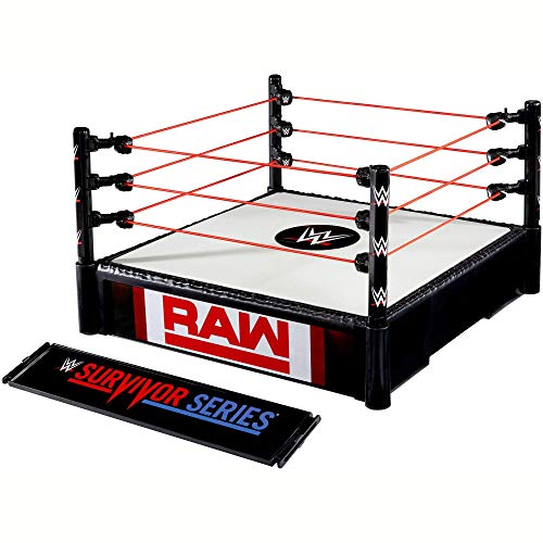WWE RAW / Survivor Series Superstar Ring, 14-inches Across with Ring Ropes, 2 Swappable Ring Skirts for 2-in-1 Ring Fun