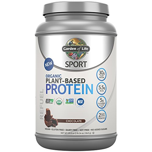 Garden Of Life Sport Organic Plant-Based Protein - BCAA Amino Acid Protein Powder, Chocolate 29.6oz (1lb 14oz / 840g) Powder