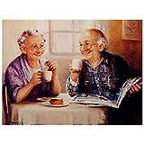 Lovmo Pareja de Ancianos DIY 5D Diamante Pintura, Punto de Cruz Completo Diamante, Adecuado para decoración del hogar Pintura Hecha a Mano para niños y Adultos (Cuadrado 30 * 4(Cuadrado 30 * 40 cm)