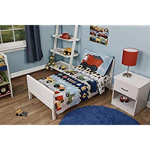 Funhouse 4 Piece Toddler Bedding Set – Includes Quilted Comforter, Fitted Sheet, Top Sheet, and Pillow Case – Construction Car and Truck Design for Boys Bed