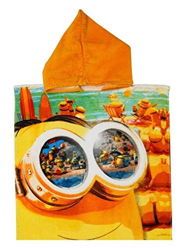 Badetuch Bademantel Kapuzen Poncho für Kinder Baumwolle – wählbar: Minions Winnie Dory PJMAsk Super Wings– tolles Geschenk für Mädchen und Jungen (Minions)