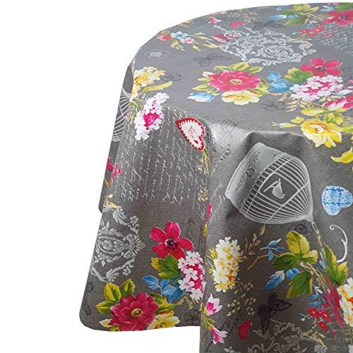 DecoHomeTextil Mantel de hule para mesa de jardín, diseño de pájaro del paraíso, gris, redondo, 100 cm, lavable, plegado