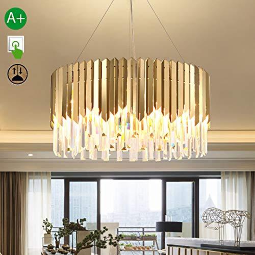Moderne kristallen hanglamp voor eetkamertafel, kristal, ronde lamp, design met hanglamp, van metaal, voor eetkamer, woonkamer, slaapkamer, reflector, E14 × 6, Ø50 cm