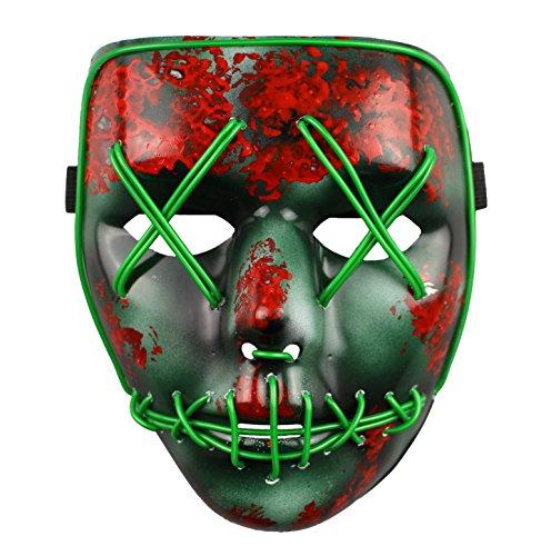 ASVP Shop Uomo La Purga Elezione Anno LED Light Up Mask Festival costume di Halloween medio verde