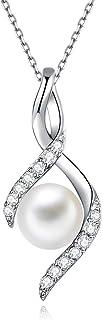 Collana Donna Collane di Perle d'Acqua Dolce Gioielli Donna in Argento 925 Ideale Regalo Donna