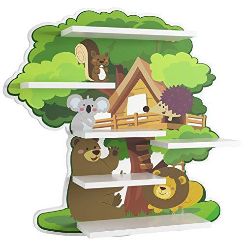 Homfa Kinderregal Baumhaus Wandregal für Kinderzimmer Hängeregal Wandablage Wandboard Regal 52,5x11,2x51,8 cm