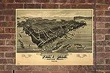 Retro Printing Company Vintage Peaks Island Map, Aerial Peaks Island Photo, Historical Vintage Peaks Island ME, Old Peaks Island Photo, 1886, Home Decor, Wall Art