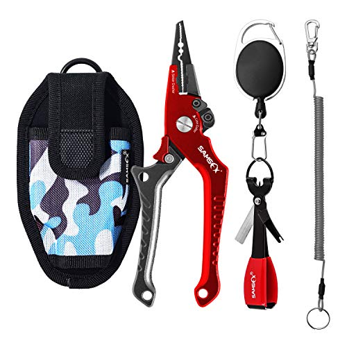 SAMSFX Locking Aluminum Fishing Pliers Saltwater Braid Line Cutter Split Ring Opener w/Lanyard, Sheath, Quick Knot Tool & Retractors (Black & Red Straight Pliers with Camo Sheath+ Quick Knot Tool)