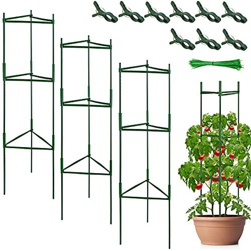 YAIKOAI 3 Stück Tomaten Rankhilfe, Rankturm Tomatenpflanze Käfig Pflanzenhalter Pflanze Stehen Gartenpflanze StützstangenKäfig Lange Stahl mit Kunststoff beschichtete Rankstab mit Verbindungsstange